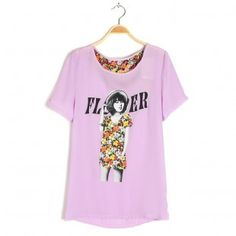 Round Collar Short Sleeves with Flower Printing Partern