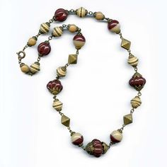Vintage Art Deco 1920s molded glass bead necklace Czechoslovakia