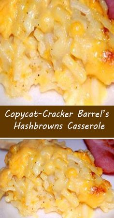 Cracker Barrel Hashbrown Casserole, Hashbrown Breakfast Casserole, Hash Brown Casserole, Casserole Dishes, Corn Casserole, Cracker Barrel Copycat Recipes, Cream Cheese Lemonade Pie, Macaroni And Cheese, Ham And Cheese