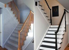 Dress up your stair railing with gel stain and paint. | 31 Affordable Remodeling Projects You Can Actually Do Yourself