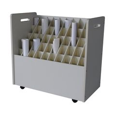 Werbetechnik Great rolling storage for all my vinyl rolls. I wonder how easy this would be to make? Vinyl Storage, Craft Room Storage, Paper Storage, Storage Shelves, Office Shelf, Office Decor, Home Office, Rolling Storage, Shop Organization