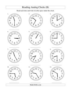 The Reading Time on an Analog Clock in 5 Minute Intervals (B)