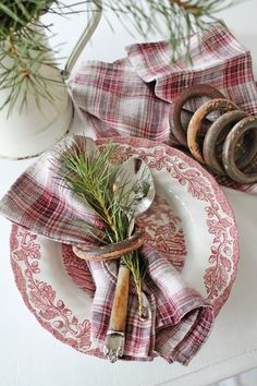 I need some tartan napkins to go with my transferware. I like that combination. [VIBEKE DESIGN]