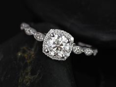 Christie 3/4cts 14kt White Gold Round Diamond Cushion Halo WITH Milgrain Engagement Ring (Other metals and stone options available)