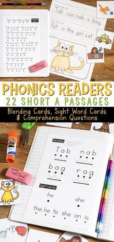Phonics Readers that help students learn to decode and sound out words while reading. These are highly controlled phonics passages for Short A and Short I words. Includes the passage, blending cards, sight word cards, and comprehension questions. Phonics Reading, Reading Comprehension Worksheets, Teaching Phonics, Phonics Activities, Kindergarten Worksheets, Comprehension Questions, Short I Activities, Free Worksheets, Learning Activities