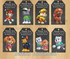 PAW Patrol Favor Tag Favor Bag Toppers PAW Patrol by DonaShope