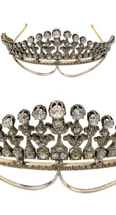 Diamond tiara, England, early 1900s, old-cut diamonds weighing approx. 25 ct, original case by Asprey's. (H)