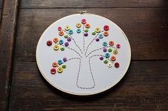 Embroidery Hoop Rainbow Tree @Amanda Formaro Crafts by Amanda