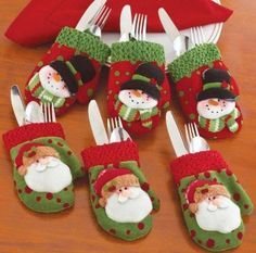 Christmas Mitten Silverware Holders - Tuck your silverware into these delightfully detailed mitten holders to add a splash of charm to your table. Unique set includes 3 with snowmen and 3 with Santa. Felt Christmas Decorations, Felt Christmas Ornaments, Christmas Art, Christmas Projects, Christmas Stockings, Christmas Holidays, Felt Crafts, Holiday Crafts, Holiday Decor