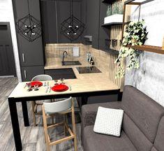 28 Ideas living room wood dark interiors for 2019 Small Apartment Interior, Condo Interior, Small Apartment Design, Apartment Kitchen, Kitchen Interior, Interior Design Living Room, Apartment Cleaning, Small Apartments, Kitchen Room Design