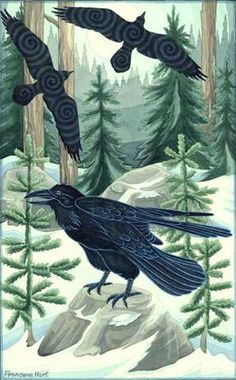 Winter Ravens original watercolor painting by Francene Hart. I bought several of her pieces at WholeLife Expo in Austin back in
