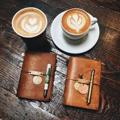 Traveler's notebooks and coffee