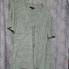 Gray sweater Short sleeve gray sweater. Ties in front, nice for summer over tanks, light weight. Only worn handful of times. basic editions Sweaters Cardigans