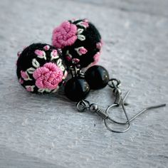 Small felt ball embroidered rose earrings in hot pink and black