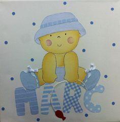 Cuadro infantil, bebe con sombrero en azules, para Marc