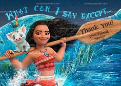 Moana Thank You Card, Maui Ocean Birthday Party Thanks Note