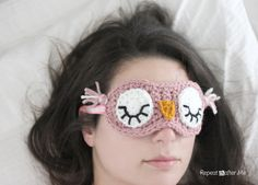 Sleepy Owl Crocheted Sleep Mask - the absolute cuteness - free pattern over at Repeat Crafter Me.
