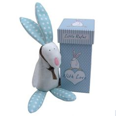 Rufus Rabbit - Baby Rattle with Gift Box Blue An adorable super soft Rufus Rabbit rattle blue with crinkly ears and tinkling bell packaged in a truly lovely little bunny gift box.