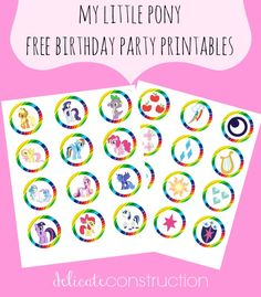 My Little Pony birthday party printables Maybe use the cupcake toppers as Girl Scout SWAPS