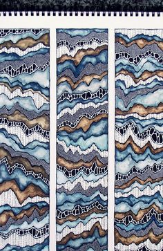Rivers and Mountains, Art Piece in Pen and Paint, Close Up
