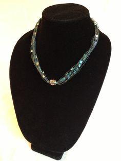 Ladder yarn necklace with silver bead trellis yarn ribbon handmade teal