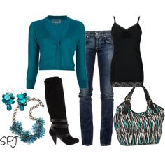 cardigan, jeans, tank, and boots