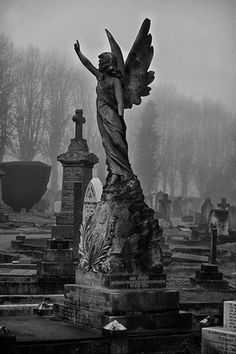 Angel -dark -cemetery -art -architecture - photography