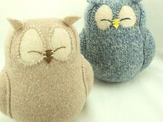 """Felt Owl Ornament Light  Beige Felted Wool Lamb Wool Stuffing Eco Friendly Home Decor Upcycled   Height 7"""". $29.00, via Etsy."""