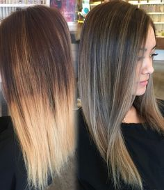 """One of my favorite transformations I didn't have a chance to upload. In one sitting, I corrected an uneven warm base color that made everything look brassy by rebasing her with a natural brown, while simultaneously blending out blotchy and overly bleached ends that looked """"dipped."""" In the end, we achieved an ashy yet natural balayage ombre. Yes #behindthechair @behindthechair_com #modernsalon #hair #colorcorrection #blonde #blondehair #ashy #asianhair #naturalhair #lowmaintenancehair #ba..."""