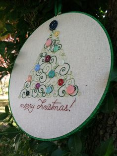 holiday Christmas embroidered wall art - decoration - christmas scroll - swirl- tree with vintage button ornaments. via Etsy.