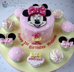 Minnie Mouse 1st Birthday Cake   by The Clever Little Cupcake Company