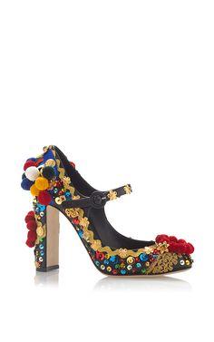 Black & Multicolor Pom Pom Mary Jane Pump by DOLCE & GABBANA for Preorder on Moda Operandi