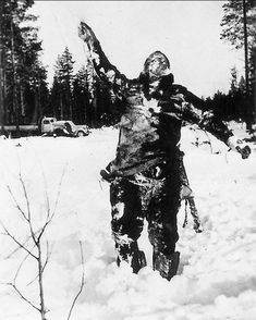 Frozen body of some Russian soldier that was putted like that by Finnish troops as a warning during the Russia-Finland war, 1939