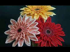 Изготовление цветка герберы из бисера своими руками - YouTube