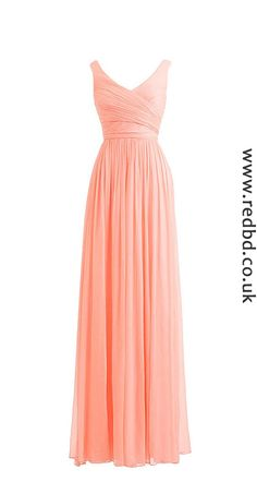 Chiffon Long one for your winter wedding. #coral #chiffon #long #v-neck #bridesmaid #dress