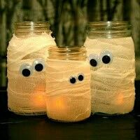 Repurpose our Heritage line's Diamond Light jars this Halloween with the scent of Cinnamon Rootbeer or Peaches+Pumpkin (or choose from many more scents) this fall. Use rolled gauze and googly eyes to scare little goblins.  Start shopping the Festifall catalog August 3, 2015. Fall/Winter catalog September 1. Http://christinerose.mygc.com