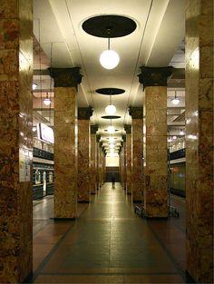 Komsomolskaya (Kомсомо́льская) underground station. Moscow (Russia).