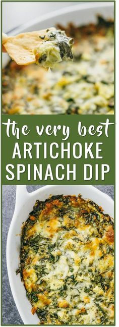 This is the best hot artichoke spinach dip that I've ever had -- it has artichoke hearts, fresh spinach, mozzarella cheese, and garlic, baked together in the oven until golden brown. baked artichoke dip, healthy, cheesy, cream cheese, no mayo, without mayo, crockpot, easy, vegan, applebees, cold, bread via @savory_tooth