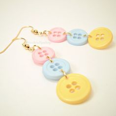 Items similar to Pastel Button Earrings Pink Blue Yellow Kawaii Pastel Jewelry Fairy Kei Sweet Lolita Gift For Crafters I Love To Sew Gifts Sewing on Etsy Kawaii Accessories, Kawaii Jewelry, Cute Jewelry, Diy Jewelry, Jewelry Accessories, Jewelry Making, Jewellery, Funky Jewelry, Jewelry Storage