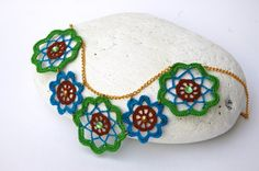 Crochet necklace with earrings - Crochet jewelry - Textile jewelry -Summer…