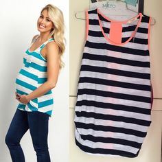 MATERNITY striped tank top NEW WITH TAGS. PRICE IS FIRM. NO OFFERS. Colors navy / white / neon peach ROBIN'S NEST MATERNITY Tops Tank Tops