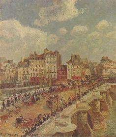 Camille Pissarro.  Le Pont-Neuf. 1902, Öl auf Leinwand, 55 × 46,5 cm. Budapest, Magyar Szépmüvészeti Múzeum. Frankreich. Impressionismus.  KO 01867