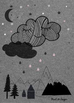"""Poster Bild """"kleine Wolke Nacht"""" Kinderzimmer von mint & sugar auf DaWanda.com"""
