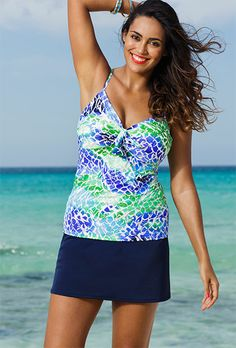 210129facff51 Shore Club Oceanview Plus Size Underwire Tie Front Navy Slit Skirtini  Swimsuits For All