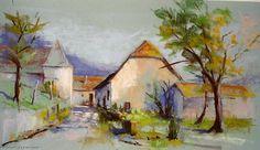 Oeuvre >> Breton Michel >> la Tour carrée Pastel Landscape, Fashion Painting, Michel, Les Oeuvres, Abstract, Painting Styles, Artist, Google, Beautiful