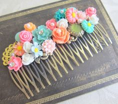 Bridal Hair Comb Shabby Chic Wedding Hair Comb Gold by Jewelsalem, $28.00