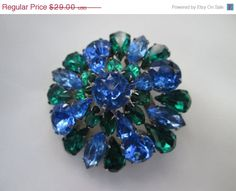 SALE Vintage Sparkling Sapphire Blue and Green by BluePearlVintage