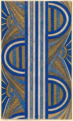 Panel with a Pattern of Sunrises and a Central Blue and White Striped Band, from a group of 158 textile designs from an unidentified French designer. The designs include brightly colored patterns and single motifs in late Art Nouveau and Art Deco sty. Motif Art Deco, Art Deco Pattern, Art Deco Design, Pattern Design, Art Deco Fabric, Pattern Fabric, Motifs Textiles, Textile Patterns, Textile Design