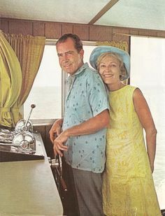 22. Before acquiescing to return to the political world she disliked, Pat Nixon relaxed during a cruise with her husband in Florida.