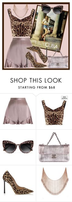 """Cuba"" by azurevesture ❤ liked on Polyvore featuring Zimmermann, Dolce&Gabbana, STELLA McCARTNEY, Chanel, Jimmy Choo, Chanelbag, cheetahprint, JimmyChoos, Packandgo and satinshorts"